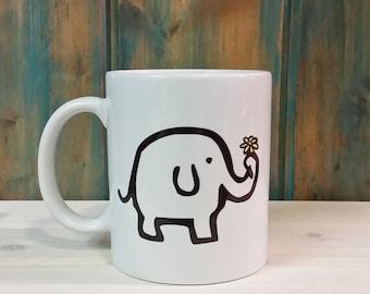Elephant coffee mug, elephant mug, unique mug, cute mug, coffee cup, adorable mug, dishwasher safe mug