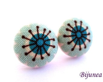 Flower earrings studs - Mint Flower posts - Flower studs - Spring Flower earrings - Flower jewelry - Earrings flower sf1158