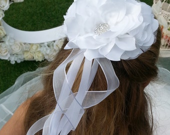 Flower Girl Bridesmaid First Communion Hair Accessory  with Satin & Organza Flowers and tails