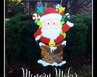 Christmas Garden Flag, Santa Claus Garden Flag, Holiday Garden Flag, Santa Yard  Flag