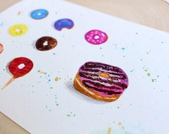 """Original watercolor. Postcard ''Donuts""""! Watercolor postcard, Donut painting, Watercolor art, Food art, kitchen art, anniversary gift"""