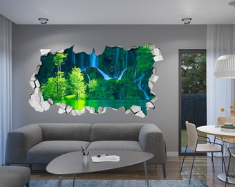 Waterfall   Wall Decal   3d Wallpaper   3d Wall Decals   3d Printed   3d
