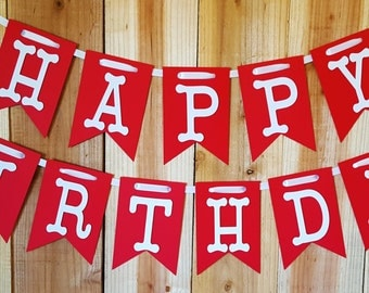 Classic Red Happy Birthday Banner, High Chair Banner, One Banner