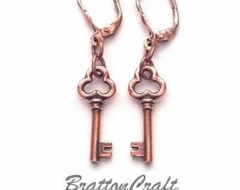 Copper Key Earrings - Key Charm Earrings - Key Earrings - Copper Key Jewelry - Epsteam