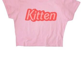 Kitten Crop Top ∘ 90s Grunge ∘ 70s ∘ Retro ∘ Kawaii ∘ Pastel ∘ Baby Blue Pink ∘ Anime ∘ Womens Ladies ∘ S M L XL 2XL