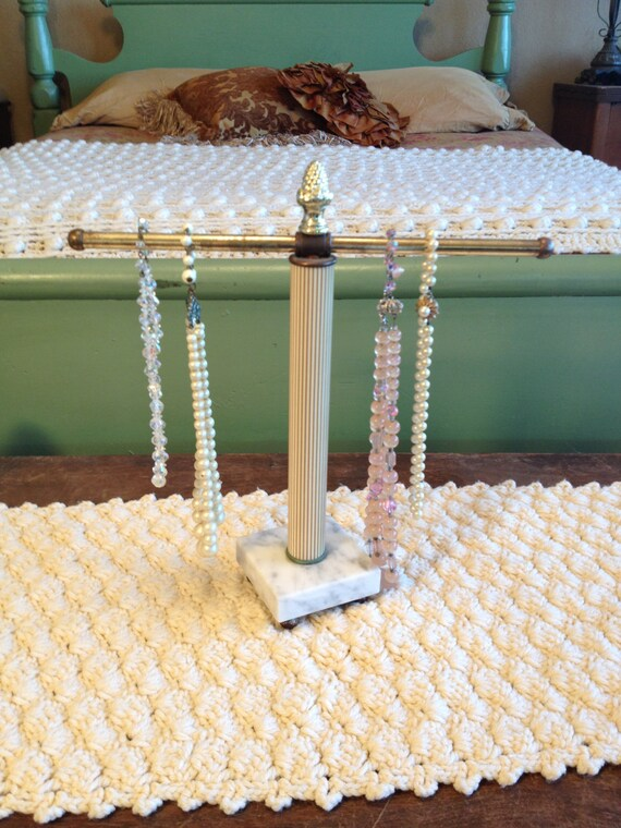 Vintage brassy gold and marble jewelry holder vintage necklace for Sawyer marble jewelry stand