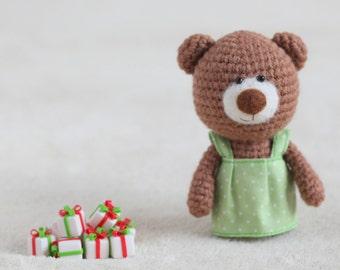 Crochet amigurumi teddy bears in the dresses - small teddy bear, personalized bear gift, birthday bear, custom teddy bear MADE TO ORDER