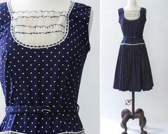 vintage 1960s dress <> 1960s navy blue polka dot dress <> 60s drop waist sleeveless dress