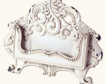 Vintage Antique White Metal Baroque Business Card Holder