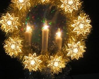 Vintage Snowflake, CANLES Tree toper, Window light, Wall wreath,Christmas lights,