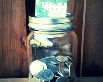 Plain Mason Jar Bank/Change Jar