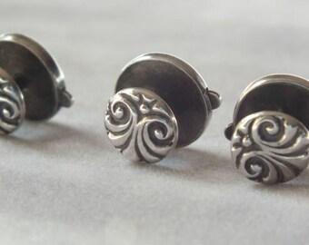 Set of 3 Sterling Silver Art Nouveau Bachelor Waistcoat cuff link button  #60