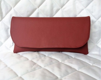 Red Small Faux Leather Foldover Purse