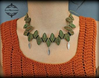 Leaves macrame necklace\handmade\micromacrame