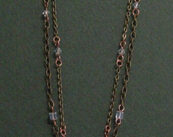 Copper and Antiqued Brass Leopard Tassel Necklace