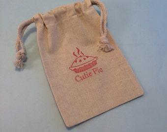 Cutie Pie Favor Bag; Muslin Bag, Reusable Valentine Theme Gift Bag