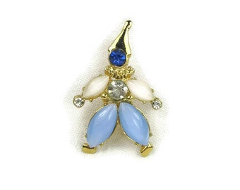 Vintage Rhinestone Clown Pin