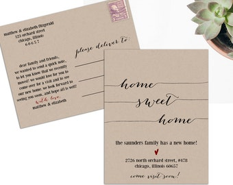 Moving Announcement, New Home Announcement, New Address, We Moved, Home Sweet Home Printable, Postcard Template, PDF Instant Download, WSET2