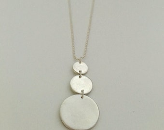Three circles pendant necklace, made of fine silver with sterling silver chain