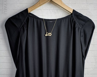 Unique necklace, long necklace, gift under 50, statement necklace, vespa necklace, gold scooter necklace, everyday necklace, gift for her.