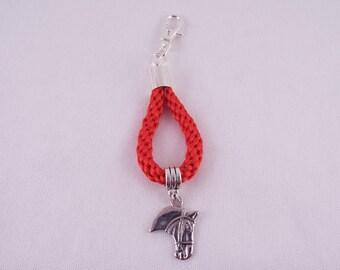 Eochaidh II (Red kumihimo key chain/bag charm w/ horse charm)
