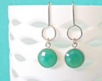 Chrysoprase Silver Drop Earrings - Drop Earrings - Dangle Earrings - Gemstone Earrings