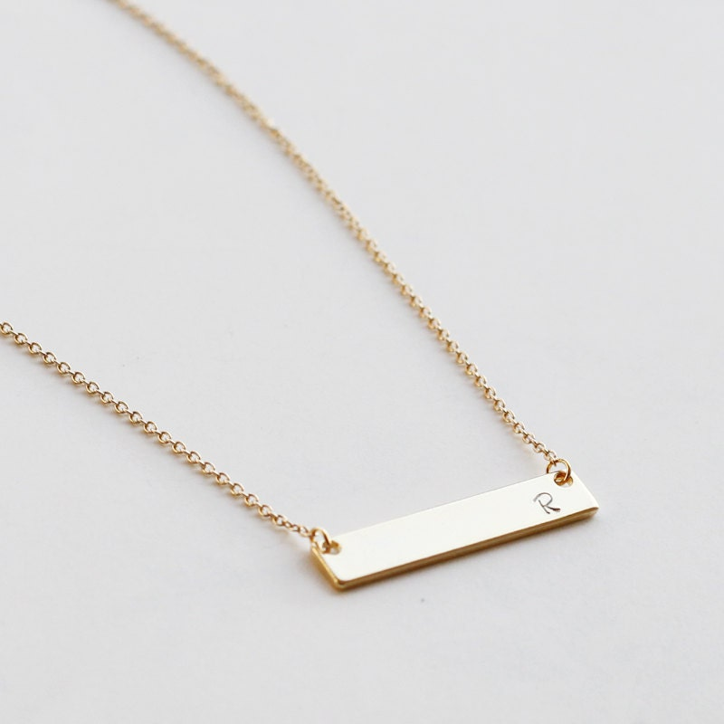personalized bar necklace name gold bar necklace bridesmaid