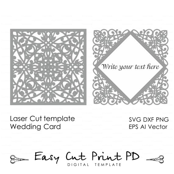 Lace Wedding Invitation Card Template Folds Svg By