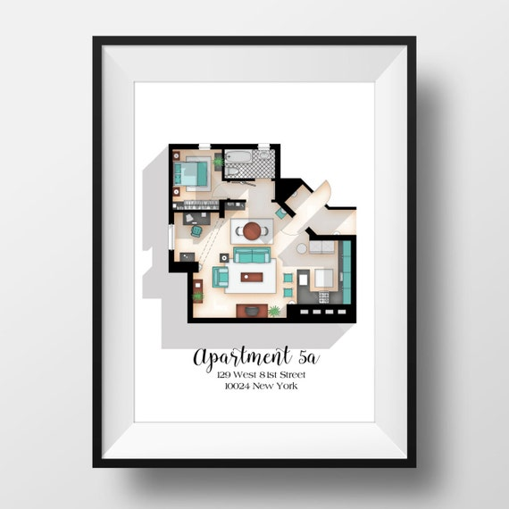 Seinfeld Poster Seinfeld Tv Show Apartment Floor Plan