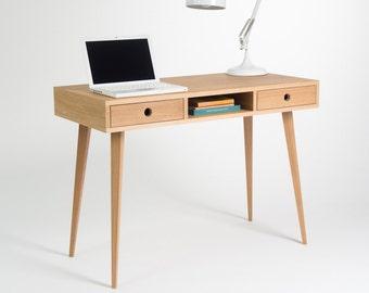 Desk, computer desk, office desk, two drawers, scandinavian style
