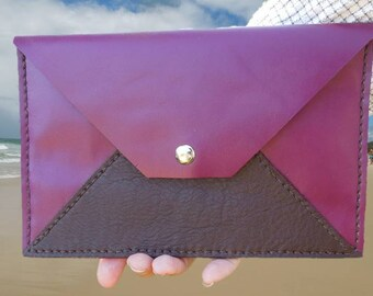 Plum and Espresso Leather Envelope Clutch