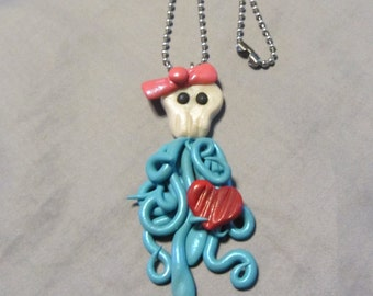 Polymer Clay Jewelry Sugar Skull Squid Pendant Ball Chain Necklace Blue