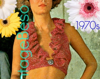 Top Crochet Pattern • Retro 1970s Halter Crochet Pattern • Crop Top Crochet Pattern • Instant Download • PDF Pattern Vintage Beso