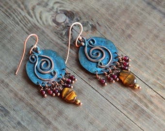 Ethnic earrings, copper jewelry, verdigris blue patina, medium disk, caribbean blue, garnet and tiger eye, bohemian ethnic earrings, boho