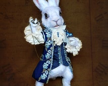 White Rabbit / Alice In Wonderland / - crochet poseable soft sculpture, OOAK stuffed animal, art doll - SOLD (can be made as a custom order)