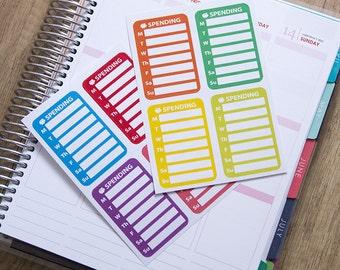 8 weekly spending stickers, bill due sticker, payday stickers, finance sticker, planner stickers, budget money sticker meal plan stickers,