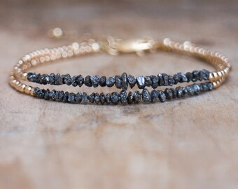 Diamond Bracelet, Black Rough Diamond Bracelet, Woman's Gold Raw Diamond Bracelet, April Birthstone, Fine Jewelry, Christmas Gift for Women