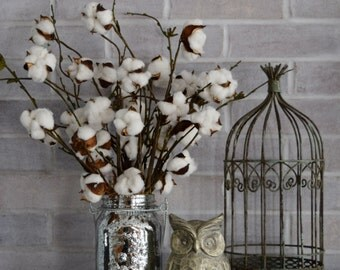 Mercury Glass Cotton Arrangement | Farmhouse Decor | Mason Jar Cotton Arrangement | Rustic Decor | Cotton Stems