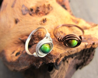 Mood Ring, Mood Jewelry, Wire Wrapped Ring, Color Changing, Sterling Silver, Silver Plated, Copper, Gifts for Her.