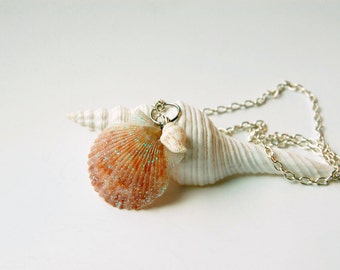 Ocean Jewelry - Mermaid Jewelry - Seashell Necklace - Scallop Shell - Shell Jewelry - Beach Wedding - Beach Necklace - Sea Shell Necklace