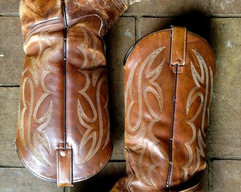 Beautiful!! Vintage 1970's soft brown leather distressed Cowboy boots//Texas Brand//All Leather//Women's 9.5 Wide/Men's 7
