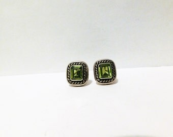 Vintage Sterling Silver 22 grams Green Stone Earrings.