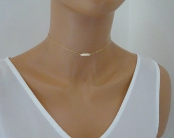 Gold Bar choker  Necklace, I can & Will necklace, Engraved  Gold Fill bar necklace, Sterling silver. Rose gold fill  bar necklace