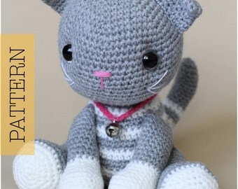 Crochet Amigurumi Cat, PATTERN ONLY, Abby Tabby, pdf Stuffed Animal Toy Pattern