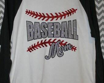 Baseball Mom Glitter Vinyl Raglan Shirt