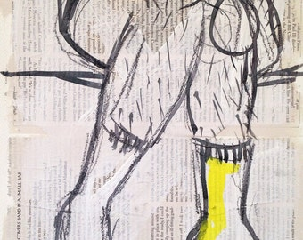 """Collage, painting, sketch, man, """"Frank and his legs"""", artist, original, Berlin, 2016"""