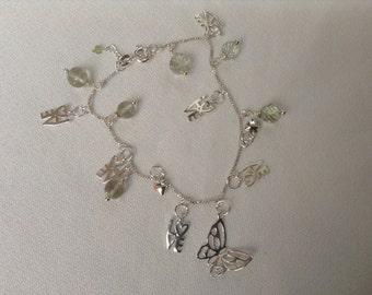 SALE...Charms bracelet. 925 sterling silver bracelet. Green Amethyst charms. Tanzanite charms.