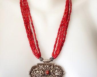 Tibetan jewellery, Tibetan Necklace,  Coral Necklace,  Multistrand Necklace,  Statement necklace,  Pendant Necklace,