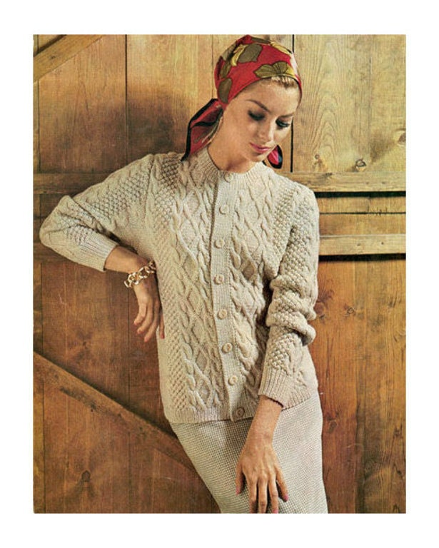 8e8bb8011 Instant Download PDF Vintage Row by Row Knitting Pattern to make A Ladies  Aran Inspired Jacket or Cardigan Bust 34-40