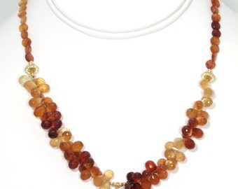 BN059- Honey Quartz and Hessonite Gold wire sculpted necklace